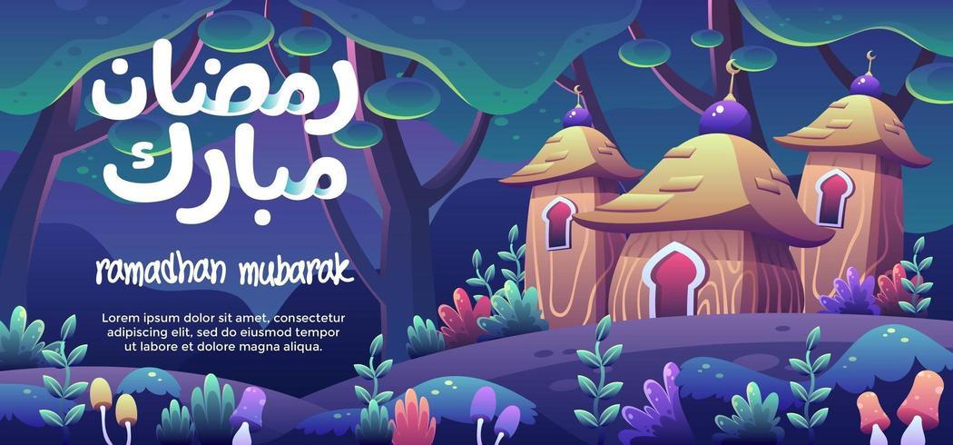 Ramadhan Mubarak com uma mesquita de madeira fofa em uma floresta de fantasia vetor