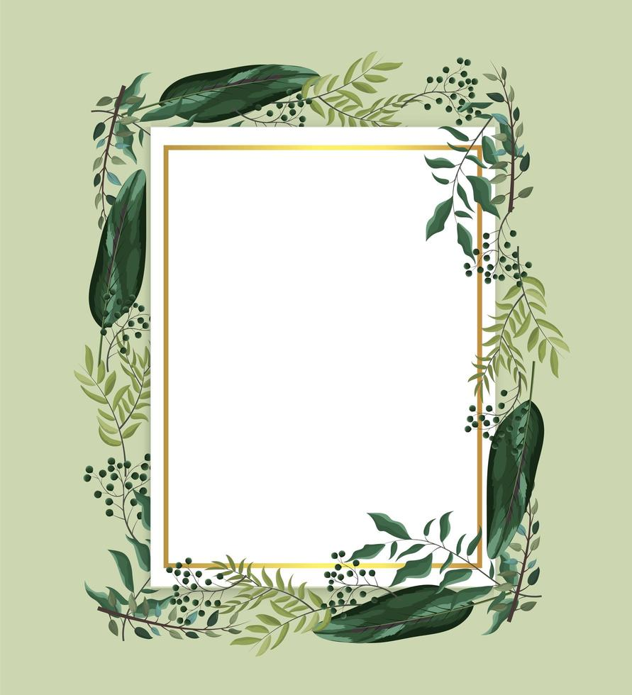 cartão com plantas exóticas e folhas de galhos vetor