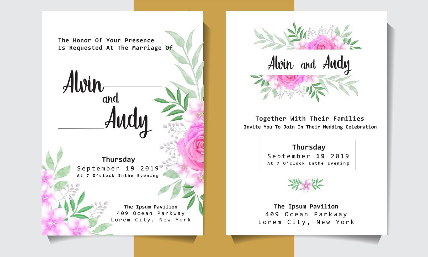 cartão de convite de casamento em aquarela com rosas rosa vetor
