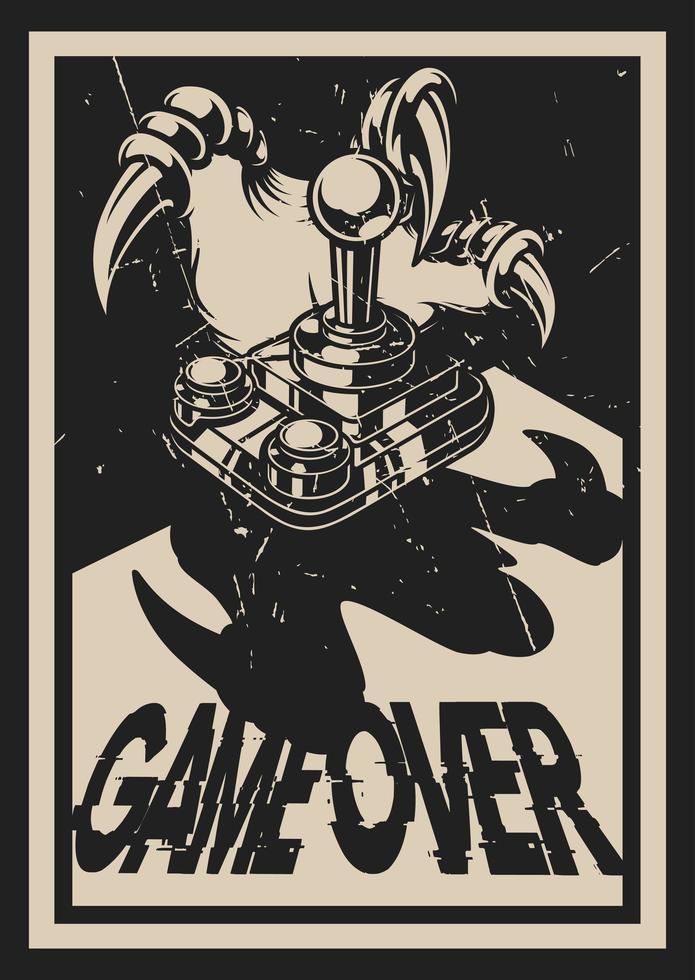 Cartaz de jogos de estilo vintage com pata de dinossauro vetor