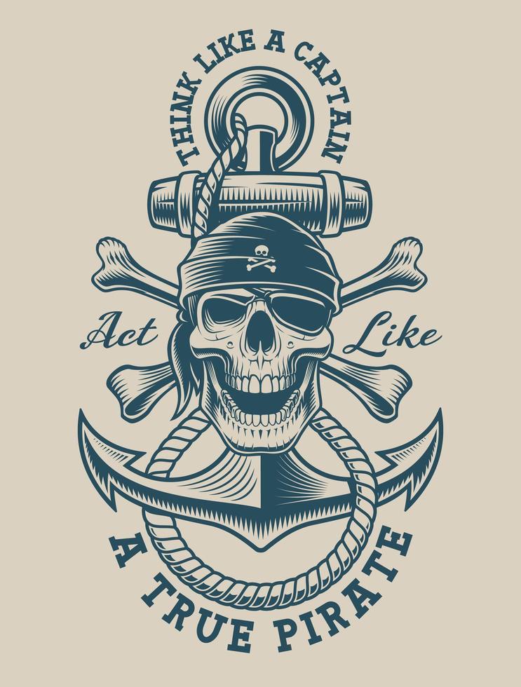 Ilustração de uma caveira pirata com âncora vintage vetor