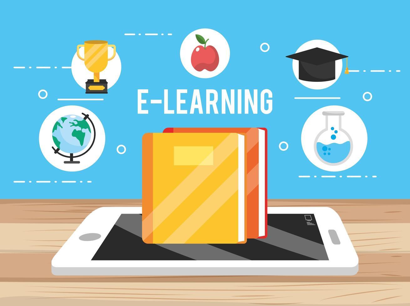 tecnologia de smartphone com ícones de educação vetor
