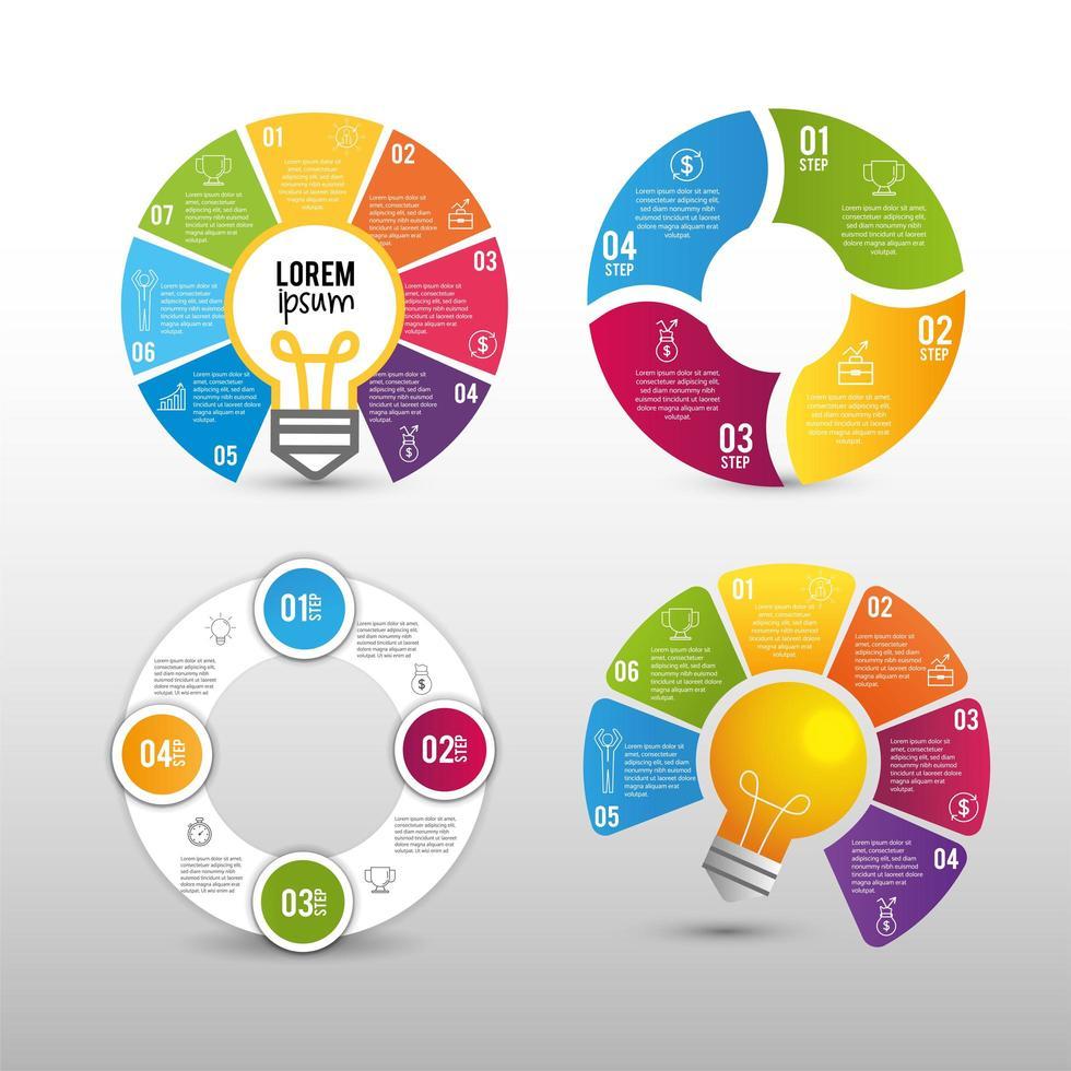 conjunto de elementos de negócios infográfico circular com lâmpadas vetor