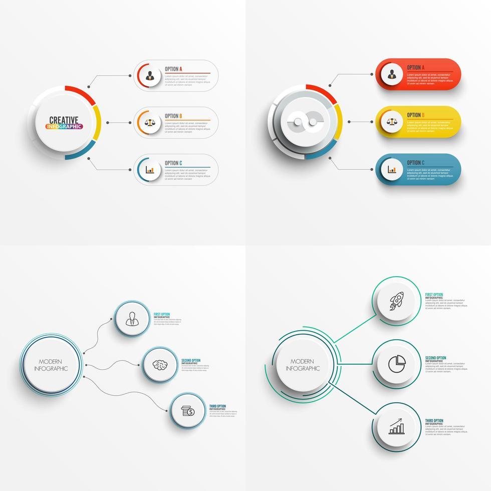 Conjunto de 3 modelos de infográfico de gráfico de opção com etiqueta, círculos integrados vetor