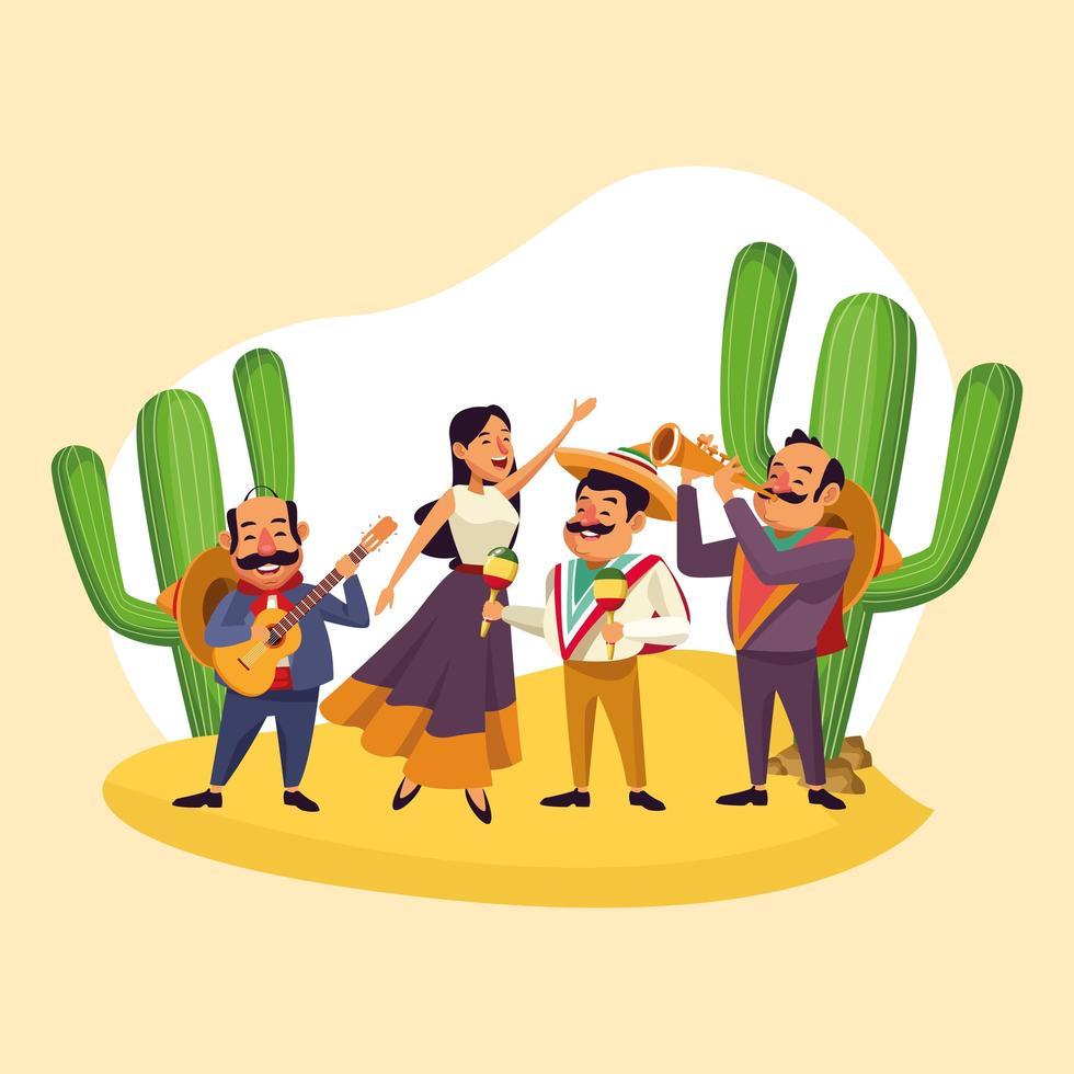 Música mexicana tocando no deserto vetor