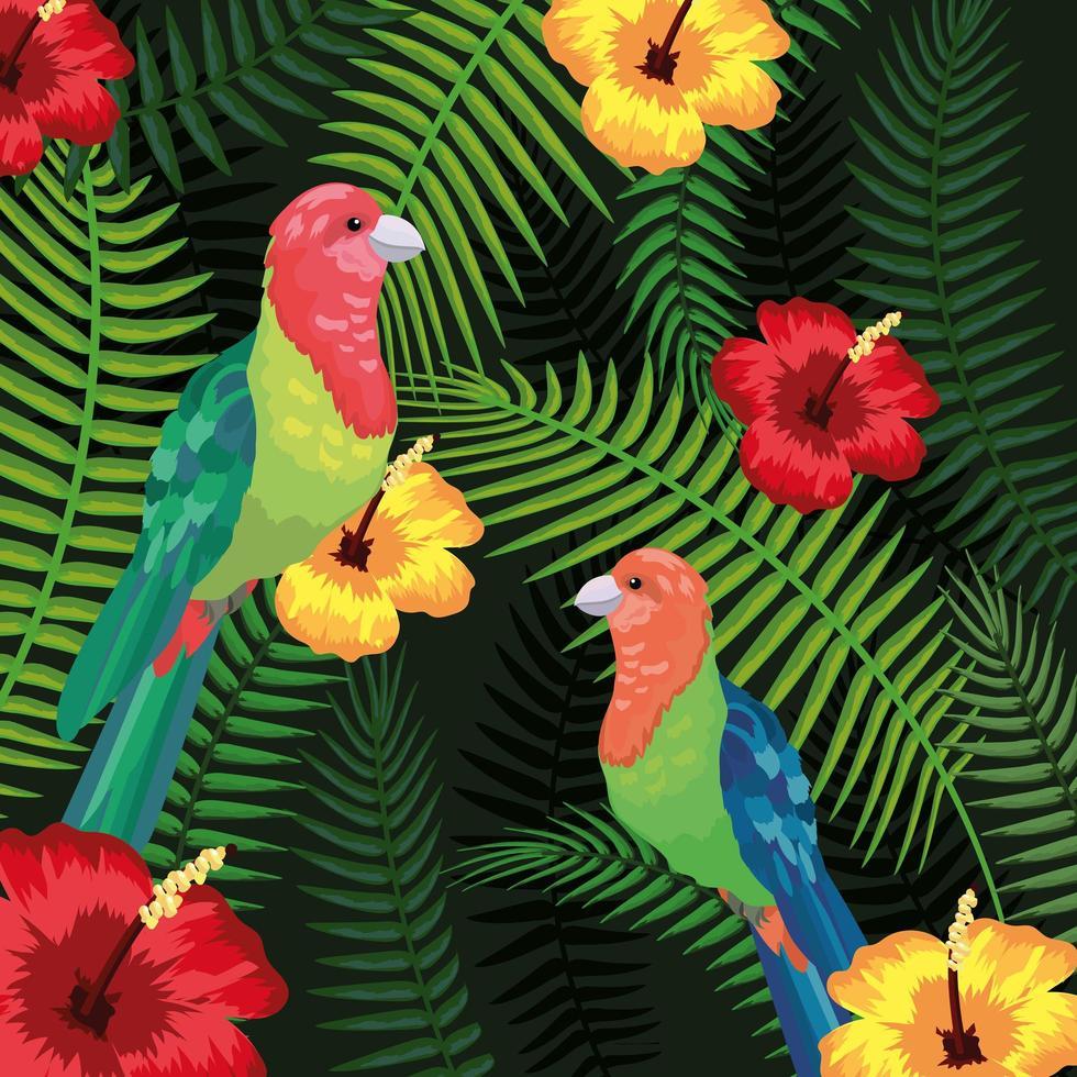 pássaros com fundo tropical de flores e folhas vetor