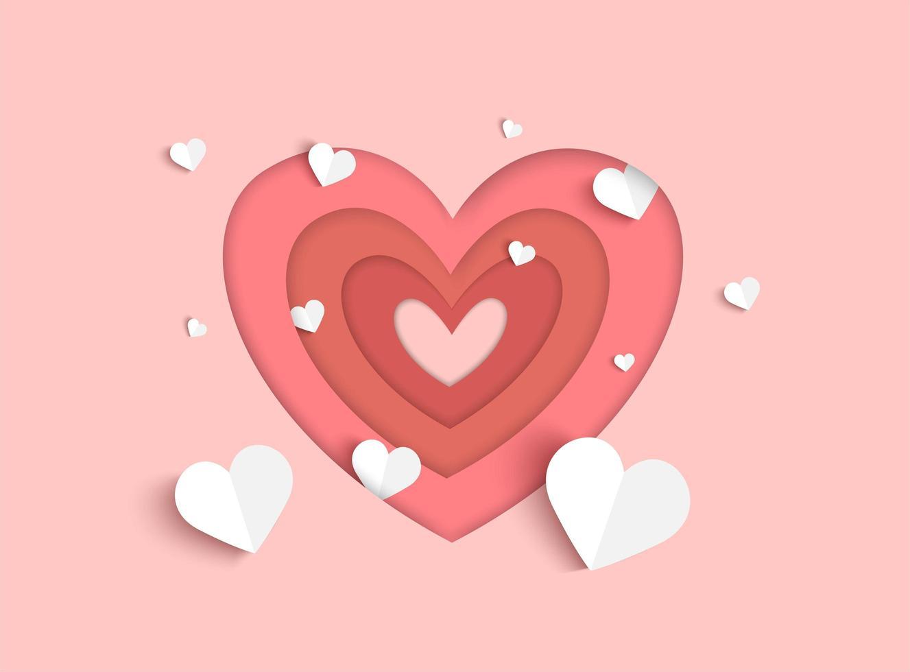 Fundo de dia dos namorados rosa com papel branco cortado corações de estilo e forma de coração em camadas vetor
