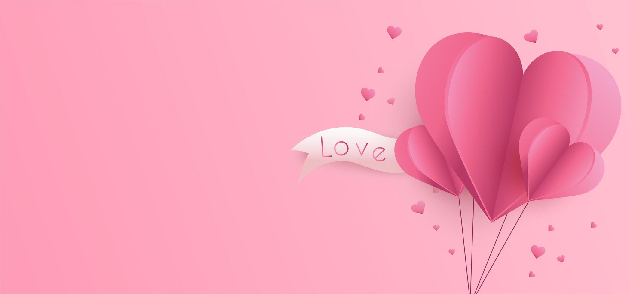 Fundo de dia dos namorados com corações de corte de papel vetor