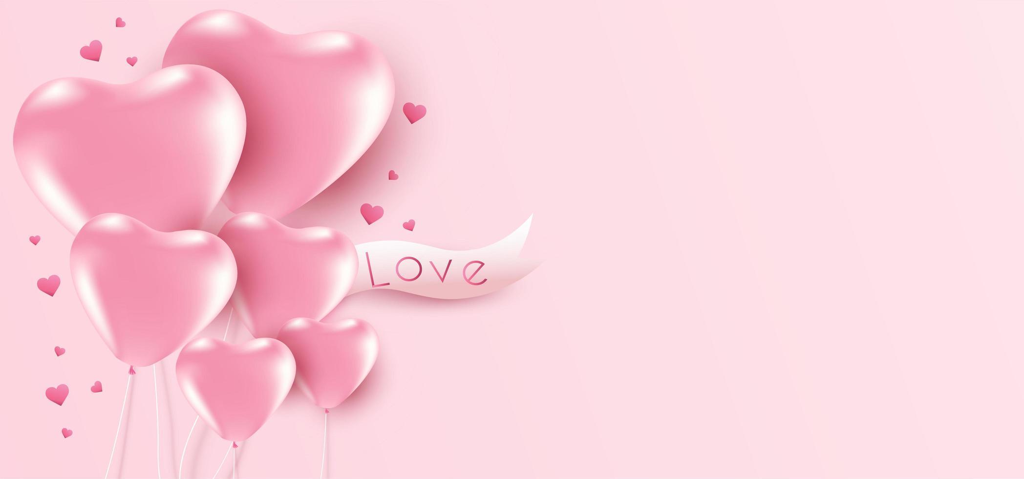 Fundo de dia dos namorados com balões de coração e copyspace. vetor