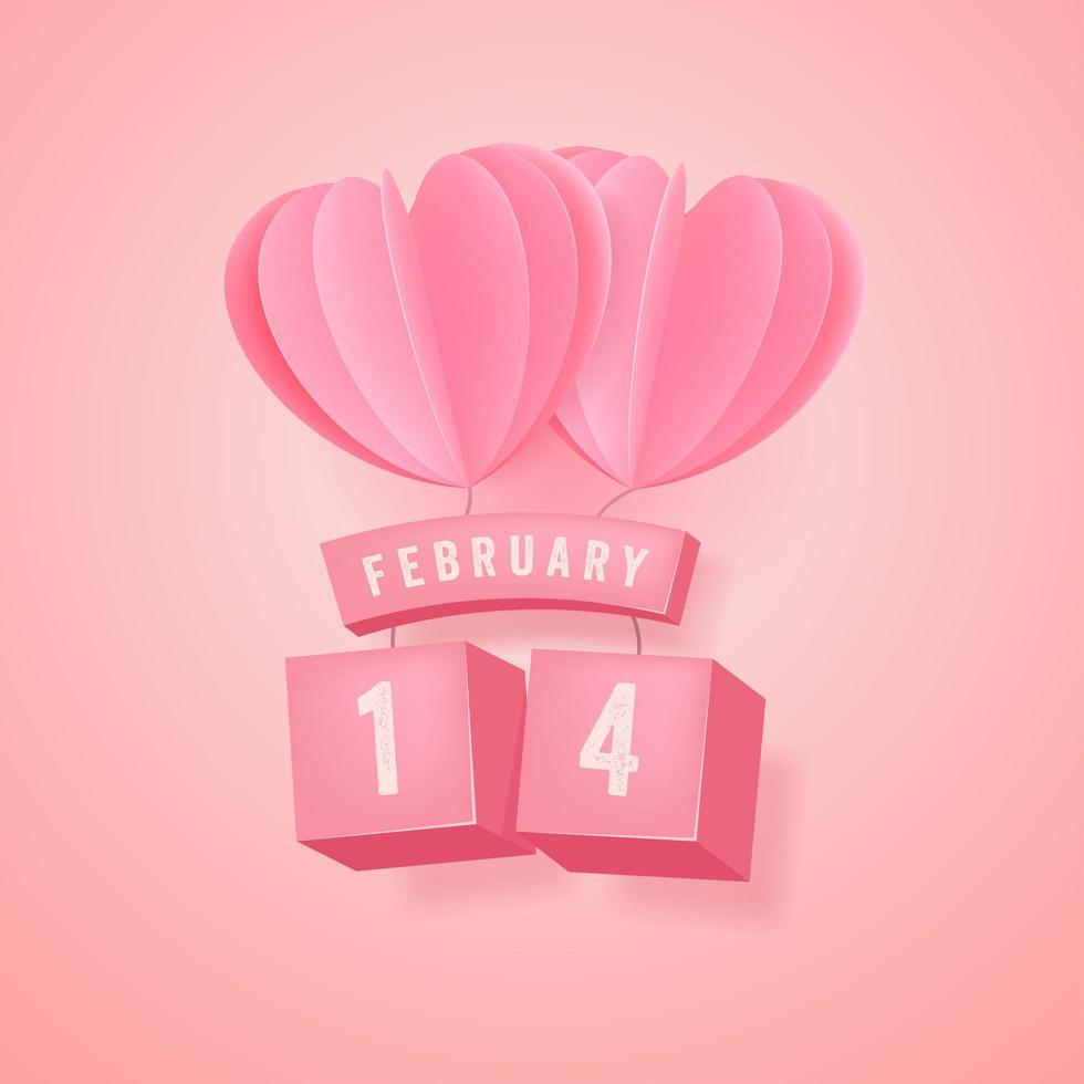 14 de fevereiro, festival do dia dos namorados e balão de coração rosa em fundo rosa. vetor