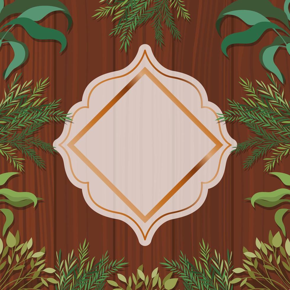 moldura geométrica dourada com fundo de ervas e madeira vetor