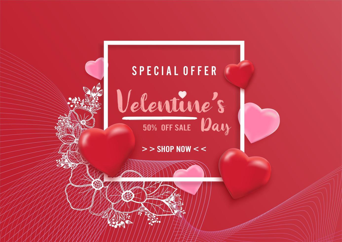 Fundo de venda de dia dos namorados com balões coração padrão e flor ilustração vetor