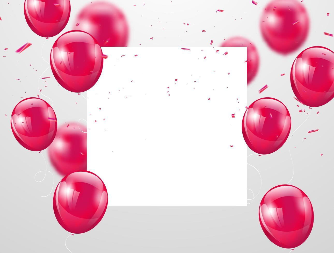 balões rosa e espaço quadrado branco para texto, fundo de celebração vetor
