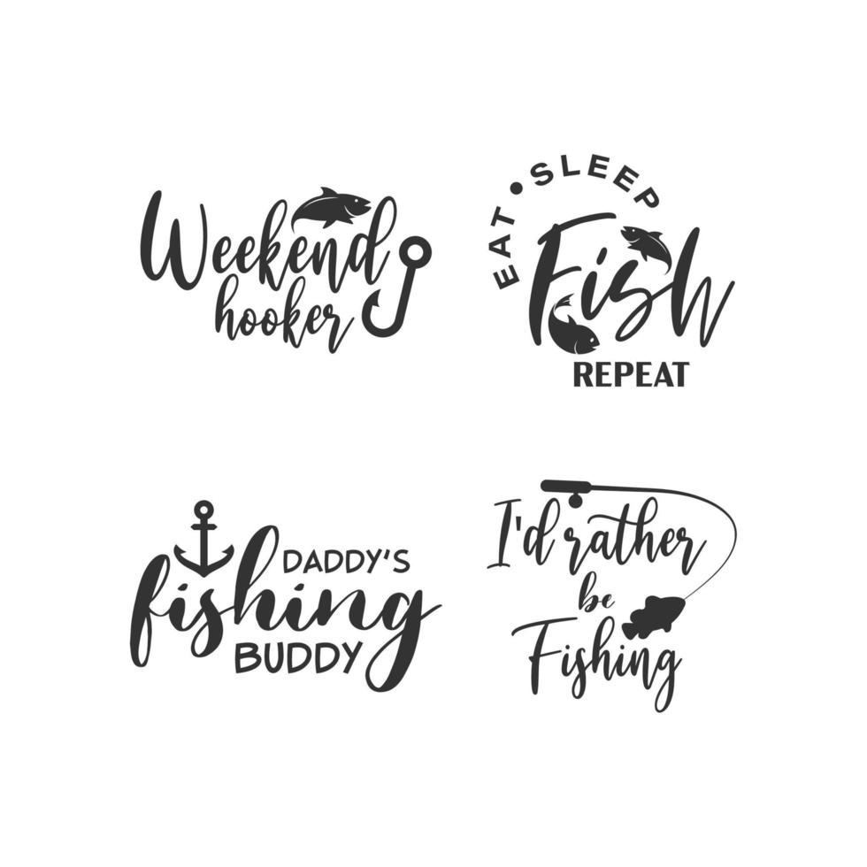 Citação de pesca letras conjunto de tipografia vetor