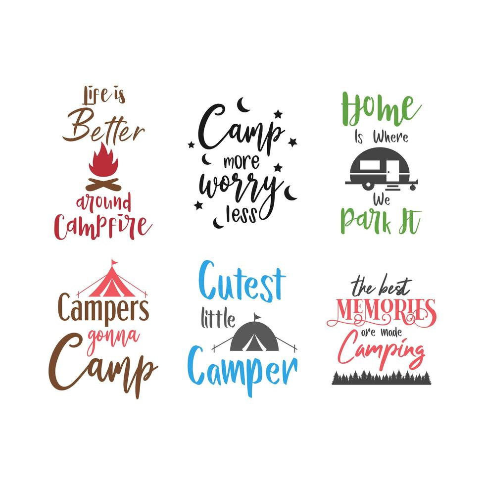 Citação de acampamento letras conjunto de tipografia vetor