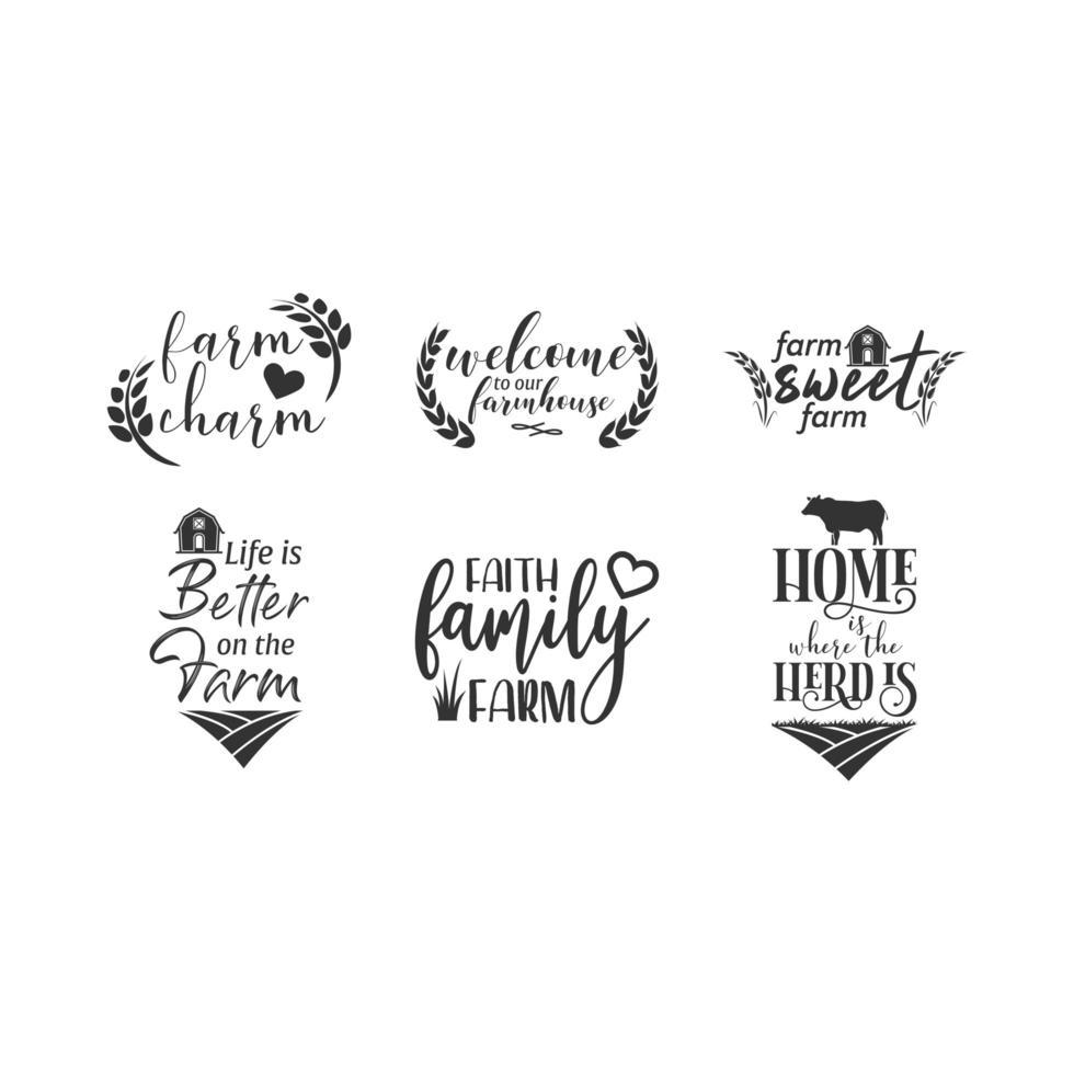 Fazenda citação letras conjunto de tipografia vetor