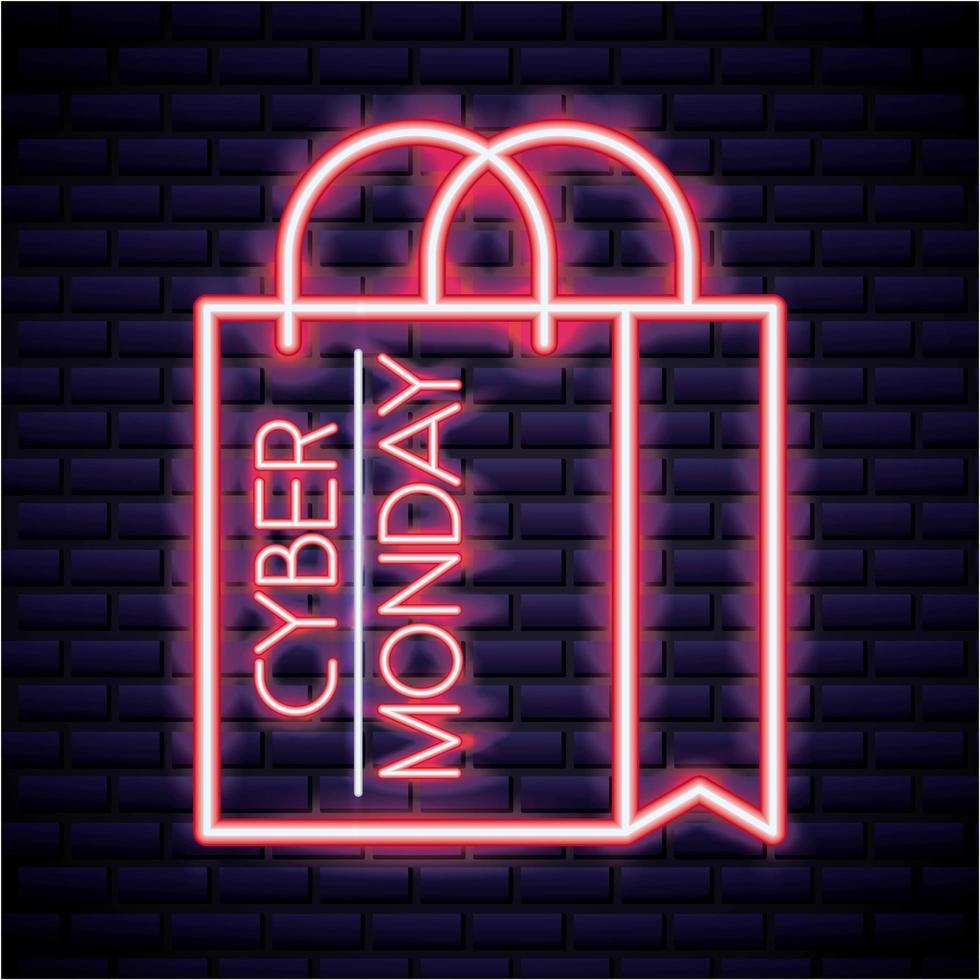 Cyber segunda-feira sinal de néon vetor