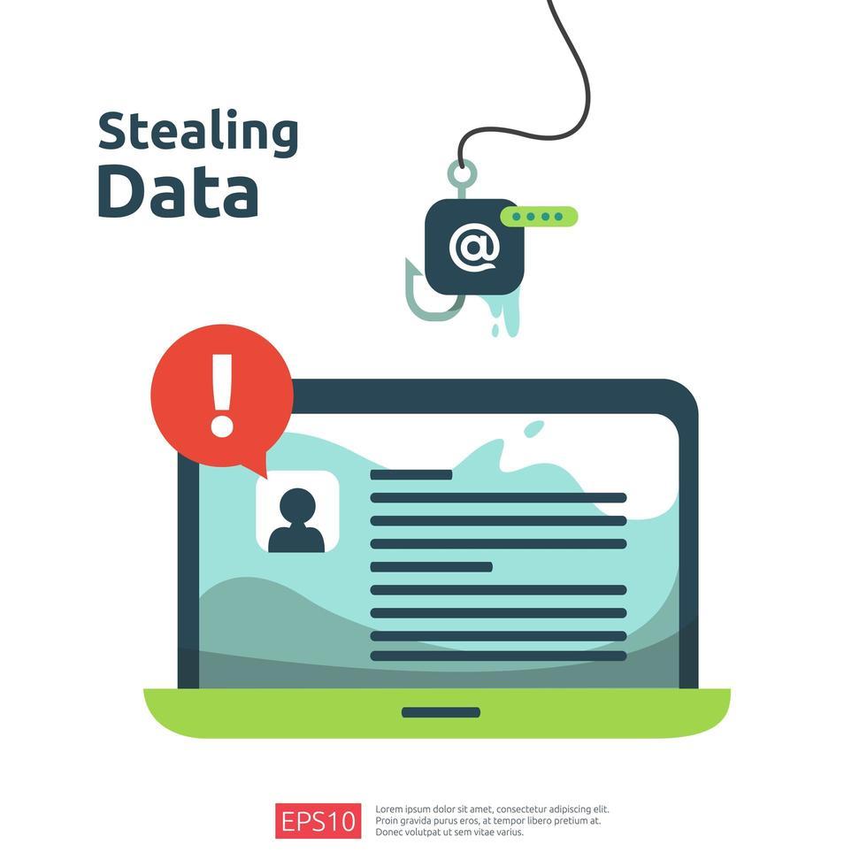 ataque de phishing de senha vetor