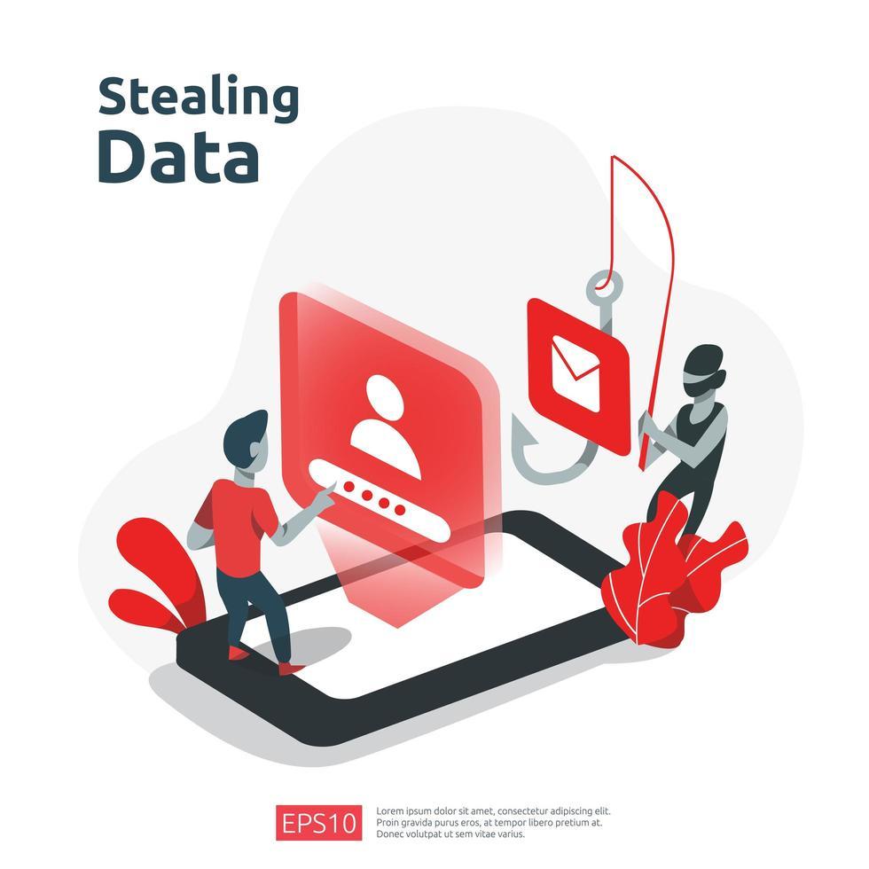 roubar dados pessoais vetor