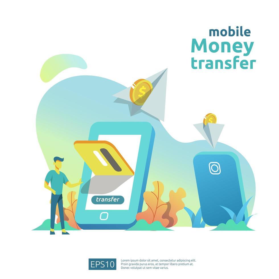 Conceito de transferência de dinheiro móvel vetor
