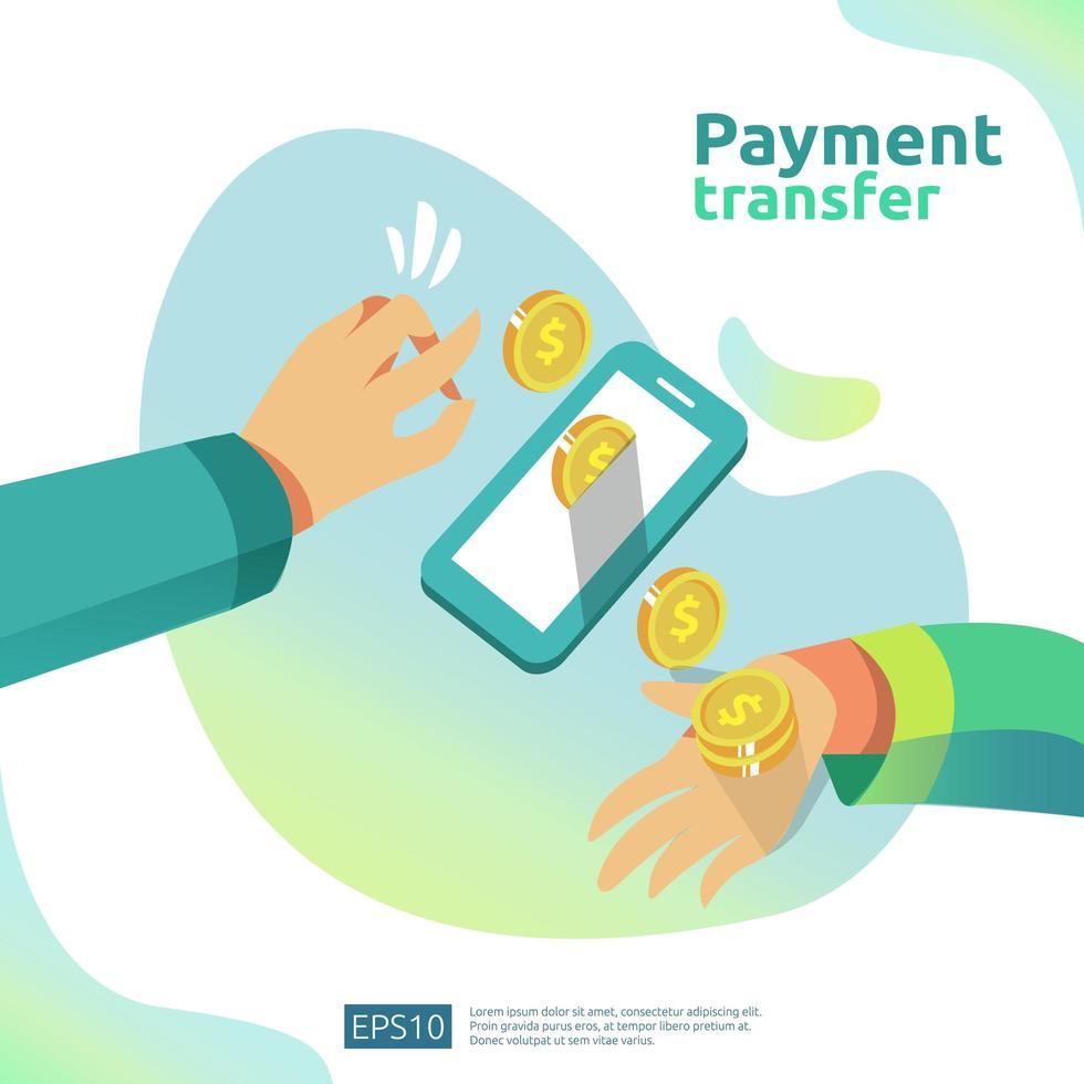 Conceito de transferência de pagamento vetor
