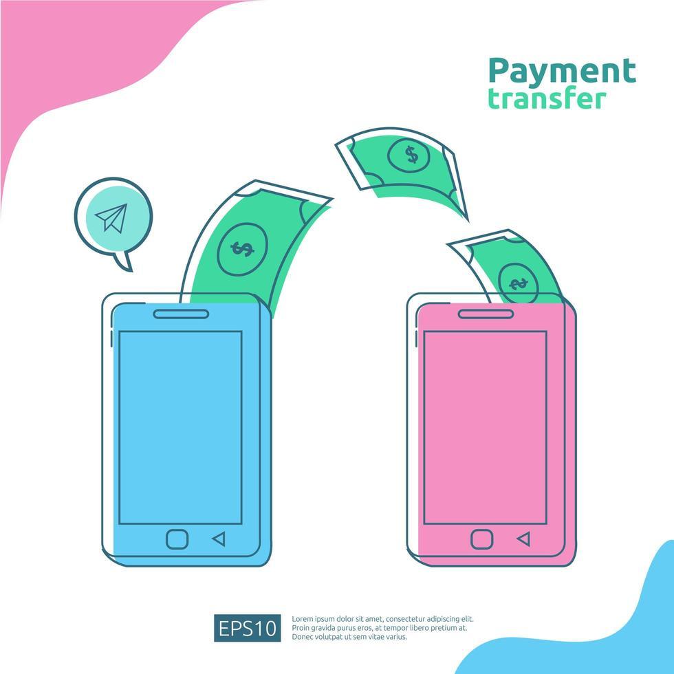 Conceito de transferência de pagamento por telefone vetor