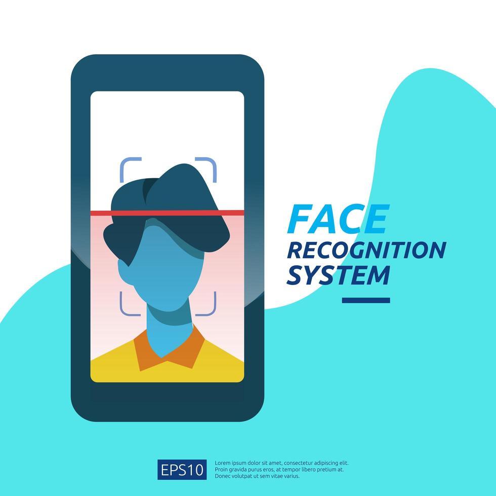 Digitalização do sistema de reconhecimento de rosto no smartphone vetor