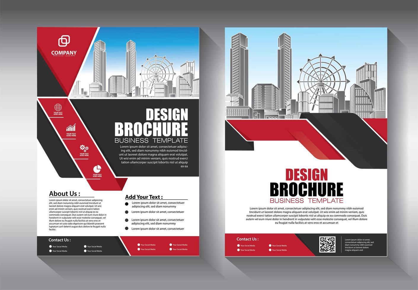 Modelo de brochura - negócio vermelho e preto vetor
