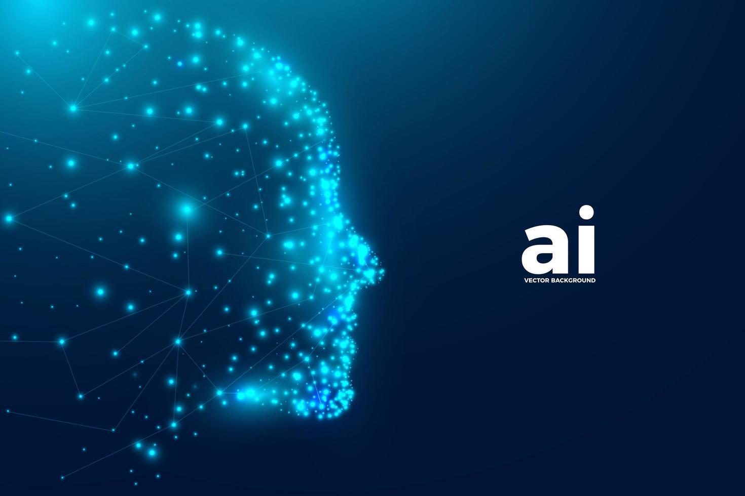 Fundo de inteligência artificial com partículas e rosto humano vetor