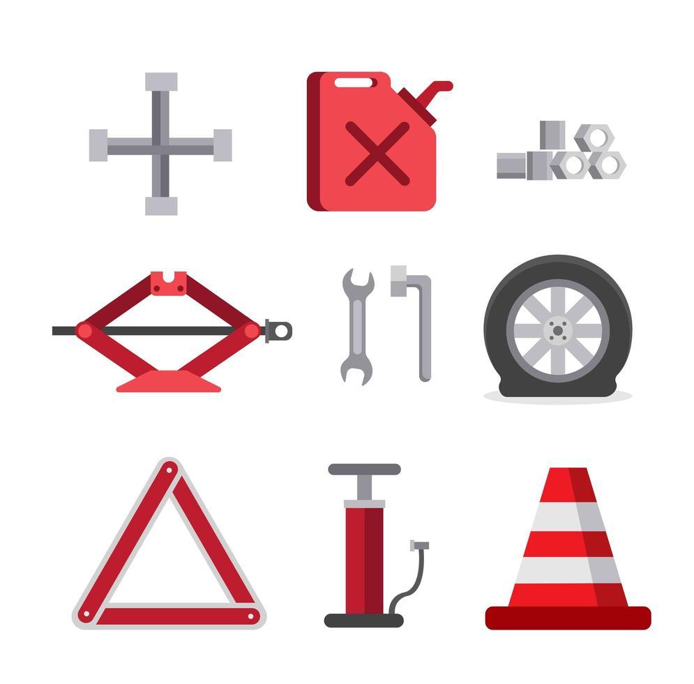 kit de ferramentas de carro de emergência, reparar o conjunto de ícones plana vetor