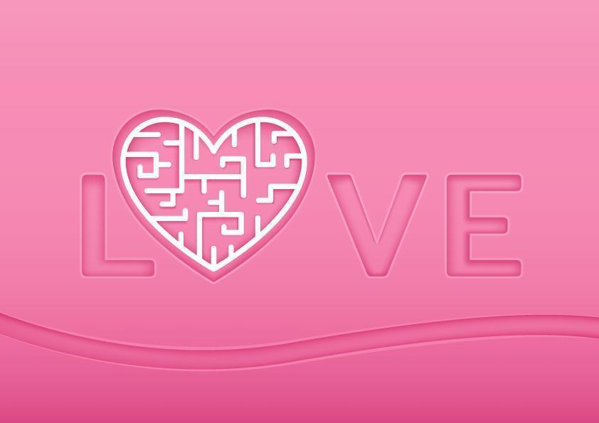 Labirinto de coração e texto de amor para dia dos namorados vetor