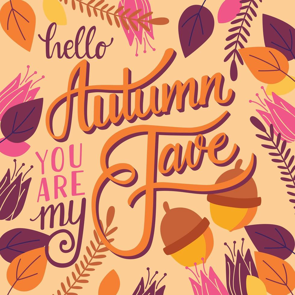 Outono, você é meu favorito, mão lettering design vetor