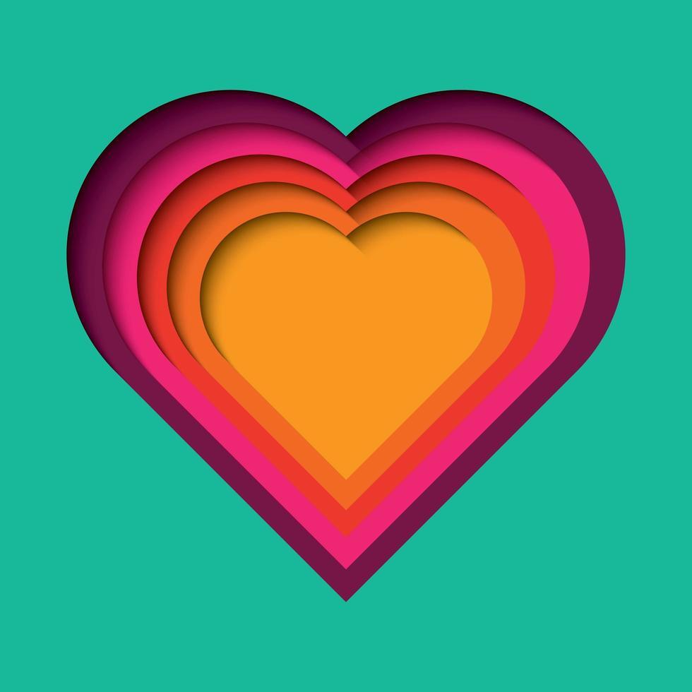 Papel cortado fundo com efeito 3d, forma do coração em cores vibrantes vetor