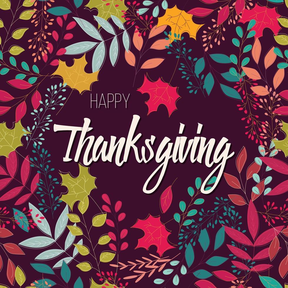 Feliz dia de ação de Graças de cartão com elementos decorativos florais, design colorido vetor