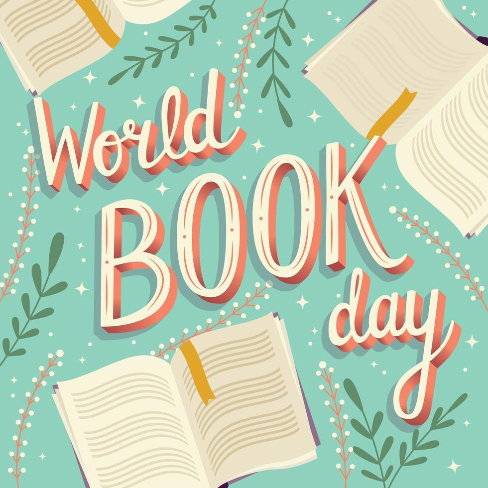 Dia mundial do livro, mão lettering design de cartaz moderno de tipografia com livros abertos vetor