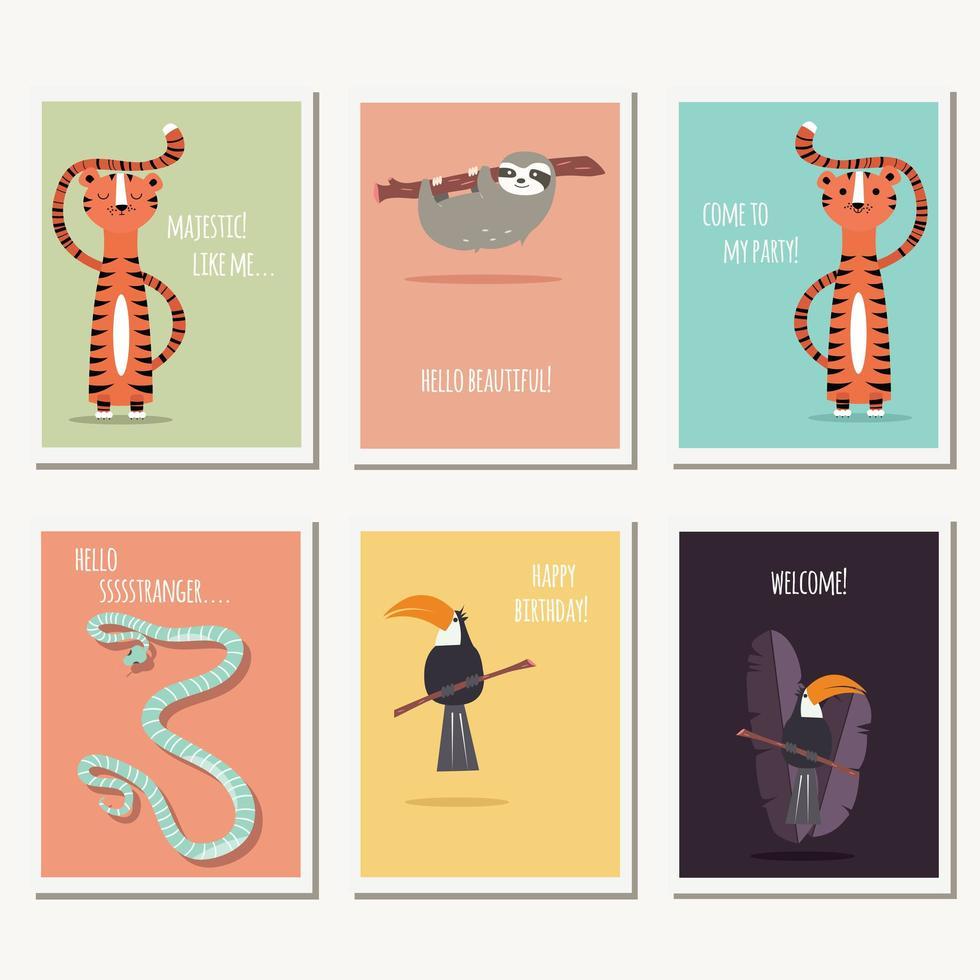 Seis cartões com animais selvagens fofos e texto vetor