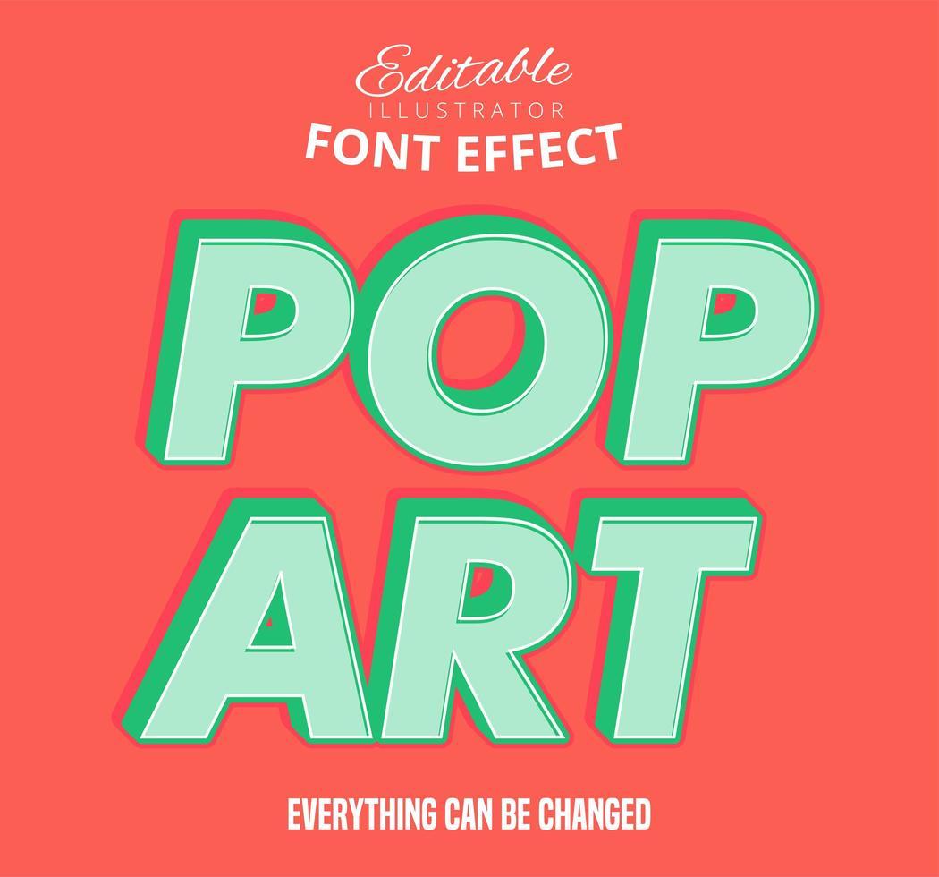 Texto de contorno de deslocamento de arte pop, estilo de texto editável vetor