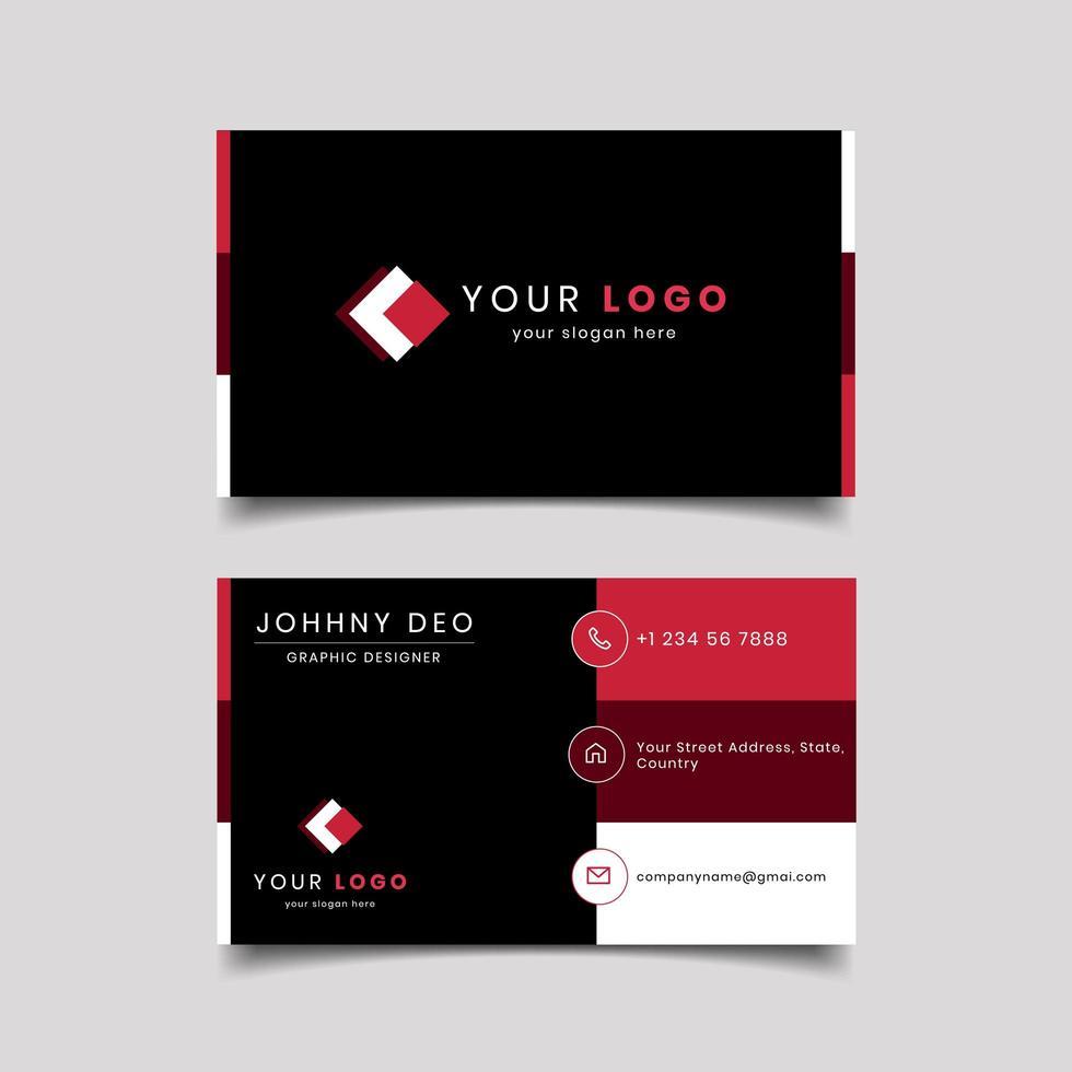 Modelo de cartão de visita moderno seccionado preto vermelho vetor