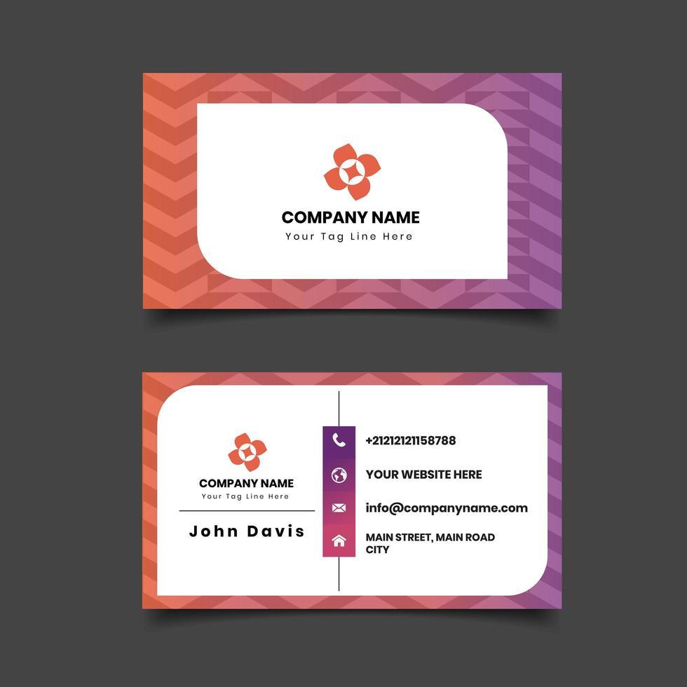 Modelo de cartão de negócios frente e verso padrão geométrico. vetor