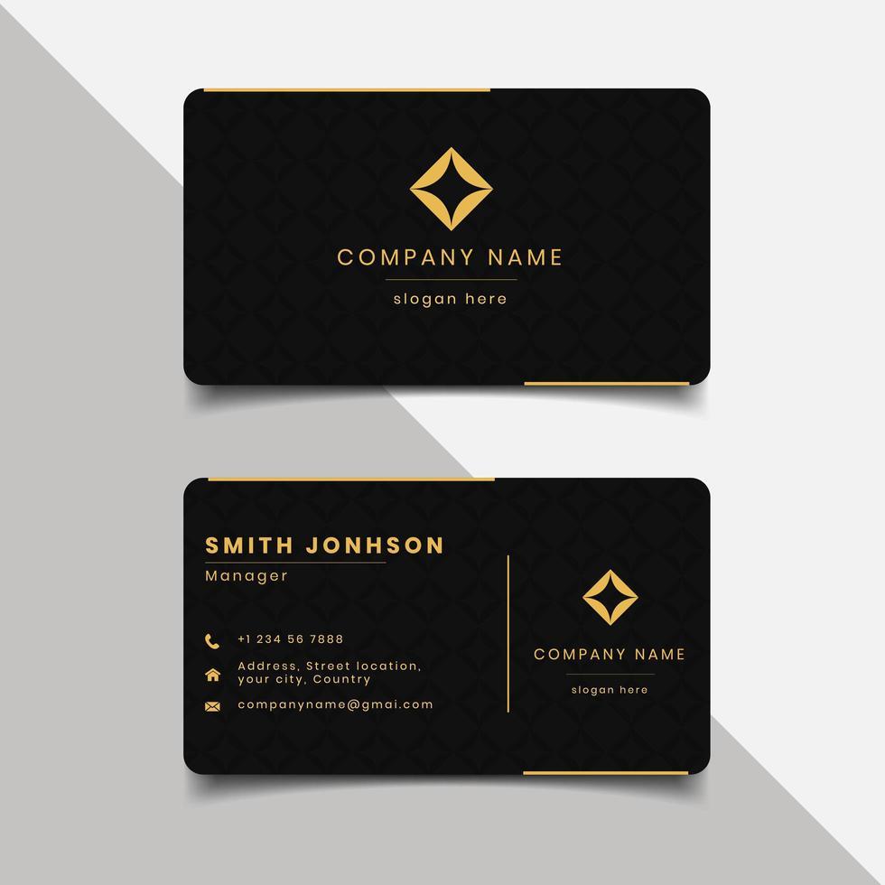 Modelo de cartão de visita - borda preta e dourada vetor