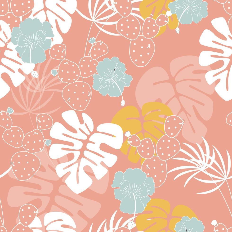 Sem costura padrão tropical com folhas de palmeira monstera, plantas, flores vetor