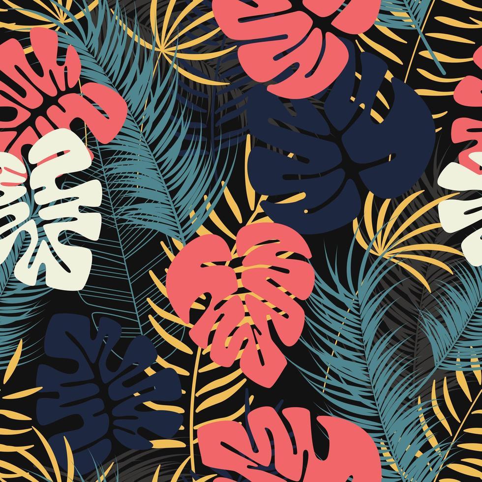 Folhas de verão tropical sem costura padrão com colorido monstera palm vetor