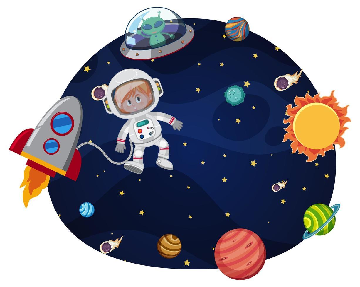 Astronauta no modelo de espaço vetor