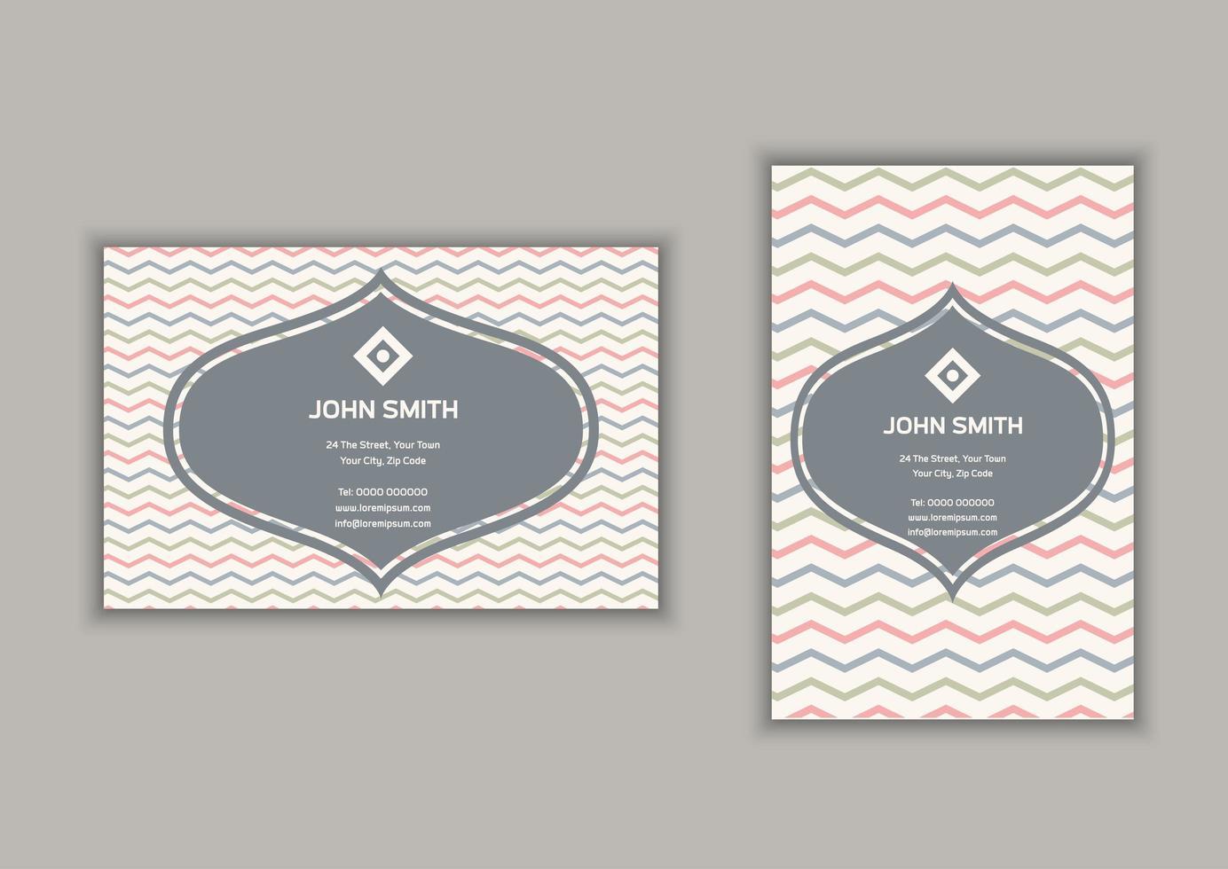 Cartão de visita com listras chevron design em formato retrato e paisagem vetor