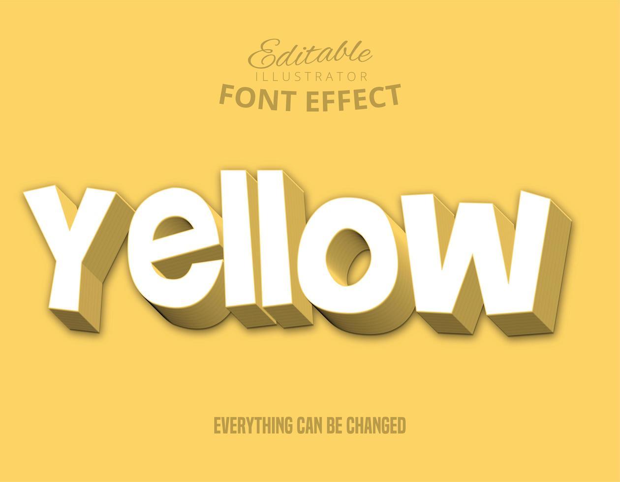 Texto escalonado amarelo, estilo de texto editável vetor
