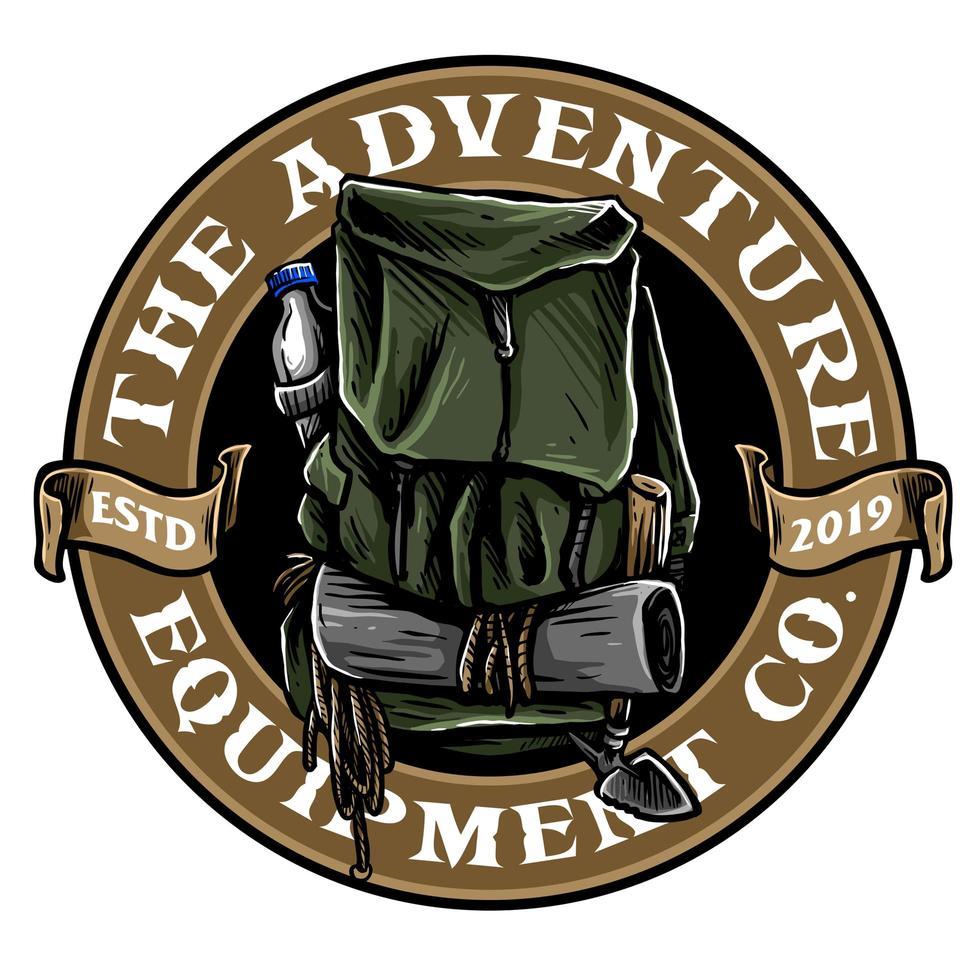 emblema saco de caminhada vetor