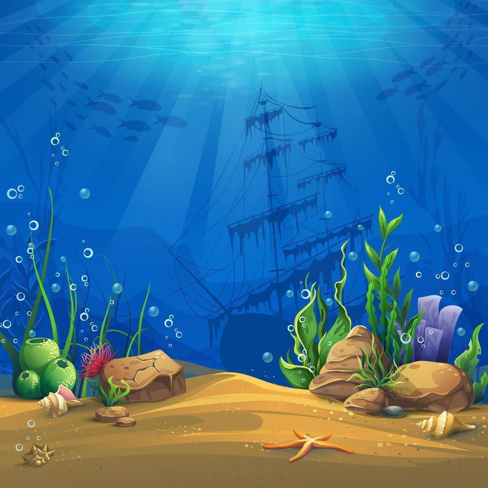 Paisagem de vida marinha com naufrágio vetor