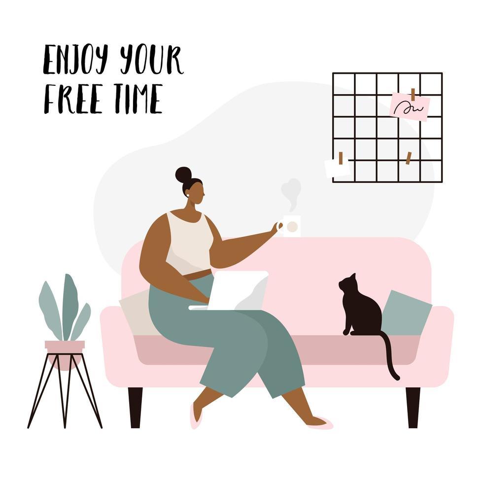 Freelancer de mulher sentada no sofá com o laptop vetor