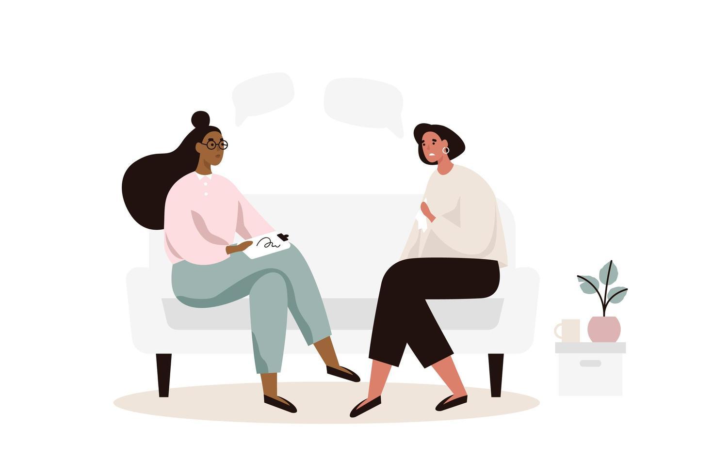 Sessão de psicoterapia com mulheres no sofá vetor