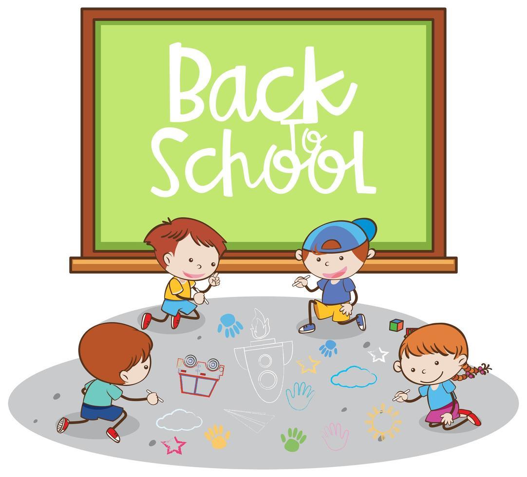 Volta para a escola Banner com alunos vetor